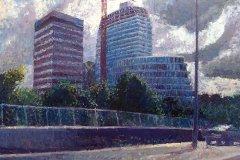DUO 4 - Vanaf de ringweg met de oude Blauwe en Gele toren - Groningen - aug 2011 (onderdeel vierluik), 120 x 150 cm, 2011
