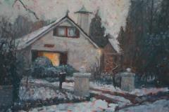 Huis in sneeuw in opdracht 30 x 40 cm 2018