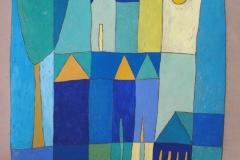 20 Huizen in blauw met boom