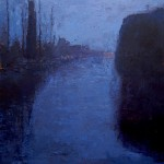 damsterdiep in de avond - olieverfschilderijen 2007