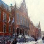 Academie gebouw in de sneeuw