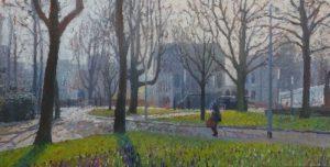 Hereplein in vroeg voorjaar, 70 x 140 cm, 2016